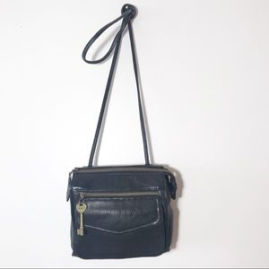 Fossil Vintage Black Pebbled Leather Crossbody